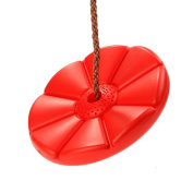 FDegage Red Daisy Disc Swing Seat Monkey Rope Tree Swing with Nylon Rope