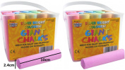 Super Bright Coloured Chalk For Children Tub Of 20 Giant Assorted Colours 2 x 20 Tubs