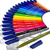 Staedtler Noris Club Fibre Tip Felt Tip Pen Set - Limited Edition Adult Colouring Felt Tips Wallet of 20