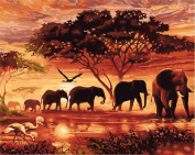 CaptainCrafts New DIY Paint by Numbers 41cm x 50cm for Adults Beginner kit, Kids LINEN Canvas - Dawn Forest Elephant Family