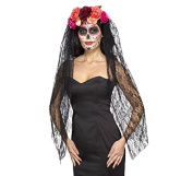 Smiffy's 44963 Deluxe Day of the Dead Headband, Red/Black, One Size