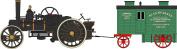 OXFORD DIECAST 76FBB002 Fowler BB1 Ploug Engine No15222 Bristol Rover + Living Waggon- Dorset