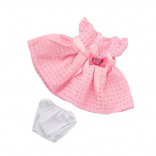 MagiDeal Pink Skirt Dress with Rose Flower Bowknot Outfit for 46cm American Girl Doll