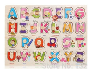 BradBitz Early Learning Slide-On Wooden Educational Alphabet A - Z Puzzle for Boys and Girls