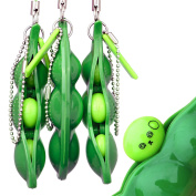 KeNeer Bring Fun for Kids and Adluts with Reduce Anxiety and Stress, Fidget Toys Squeeze-a-Bean Keychain Pendants Cellphone Chain Peas