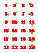 24 Christmas Advent Calendar Stickers - Pictures & Numbers, White