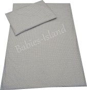 Babies-Island Bedding set for cot/cot/bed/single bed - GREY POLKA DOTS (duvet cover + pillowcase)
