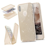 Etsue Glitter TPU Case for iPhone X, 360 Degree Front and Back Full Body Full Coverage Protection Scratch-Resistant Slim Glitter Sparkly Bling Shiny Silicone Gel Soft TPU Rubber Case Covers for iPhone X 15cm + Blue Stylus Pen + Bling Glitter Diamond Du ..