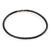 Black Leather Braided Bracelet 3Mmx8In