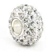 White Crystal Ball Bead Sterling Silver Charm Fits Pandora Chamilia Biagi Trollbeads European Bracelet
