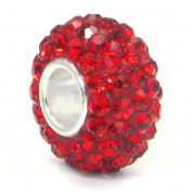 Ruby Red Crystal Ball Bead Sterling Silver Charm Fits Pandora Chamilia Biagi Trollbeads European Bracelet