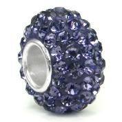 Alexandrite Lavender Crystal Ball Bead Sterling Silver Charm Fits Pandora Chamilia Biagi Trollbeads European Bracelet