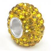 Citrine Yellow Crystal Ball Bead Sterling Silver Charm Fits Pandora Chamilia Biagi Trollbeads European Bracelet