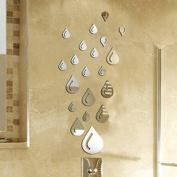 Bodhi2000 Water Drop Wall Sticker Raindrop Modern Stylish Fashion Art Design Removable DIY Acrylic 3D Mirror Wall Decal for Bathroom Sitting Room Home Decoration