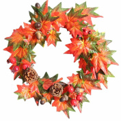 Pine Fruit Maple Leaf Fall Door Wreath Door Wall Ornament Thanksgiving Day Christmas - 35cm