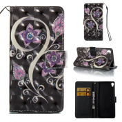 Sony Xperia XA Case, BONROY® 3D Relief Colourful Painting patterns PU Leather Phone Holster Case, Flip Case Stand Wallet Shell Book Style Skin Pouch with Card Slots Magnetic Closure TPU Back Bumper Protective Book Cover For Sony Xperia XA - Peacock flower