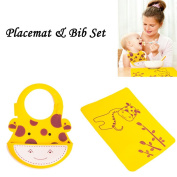 INCHANT Soft Waterproof Silicone Baby Placemat and Bib Set , Eco-Friendly Comfortable Baby Roll Up Lunch Supper Bibs Matched Keep stains Off Table Mat, Reusable, Unisex, Easy Clean,Yellow Giraffe