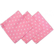 100% cotton Muslin squares Pack of 3 30cm x 30cm SAM Coral with small white stars