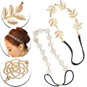 Set of 2pcs Headbands Hairbands Hair Bands Holders With Golden Roses Flowers Decorations, Gold Coloured Leaves Leaf Ornaments and Black Elastic Straps