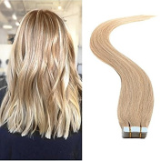 TheFashionWay Brazilian Human Hair Extensions 20Pcs/Pack 41cm - 60cm Tape in Silky Straight Weft Remy Virgin Hair.#70cm )