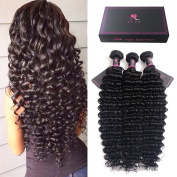 HLSK Hair Remy Brazilian Virgin Hair Deep Wave Hair Extensions 3 Bundles 8A Unprocessed Human Hair Wave Hair Bundles Natural Colour Can Be Dyed and Bleached