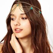 FXmimior Bridal Women Vintage Bohemian Head Chain Crystal Halloween Head piece Wedding Hair Jewellery
