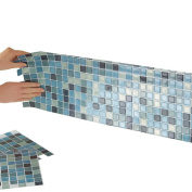Mosaic Peel & Stick 25cm x 25cm Backsplash, Kitchen, Bathroom, DIY Wall Tiles - Set Of 6, Blue Multi