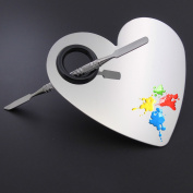 Professional Heart Shape Stainless Makeup Mixing Palette Spatula Tool Foundation Shades Nail-art Cosmetic Artist Eye Shadow Makeup (Silver) by DAXUN