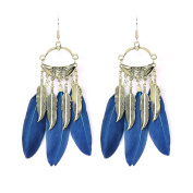 VENI MASEE Bohemian Hand Made Romantic Earrings Big Feather/Alloy Leaves/5 Colours Gift Box Included