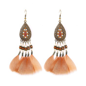VENI MASEE Refined Business Style Long Earrings Pendants Feather/2 Colours Gift Box Included
