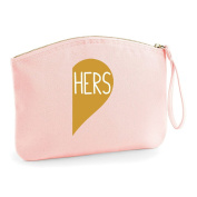 Hers Half A Heart Gold Matching Wedding Engagement Party Gift Make Up Bag - Cosmetic Canvas Case