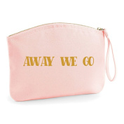 Away We Go Honeymoon Gold Wedding Engagement Party Gift Make Up Bag - Cosmetic Canvas Case