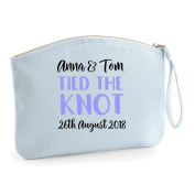 Names Tied To Knot Date Personalised Wedding Engagement Party Gift Make Up Bag - Cosmetic Canvas Case