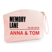 Memory Lane Names Personalised Wedding Engagement Party Gift Make Up Bag - Cosmetic Canvas Case