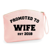Promoted To Wife Est Year Personalised Wedding Engagement Party Gift Make Up Bag - Cosmetic Canvas Case