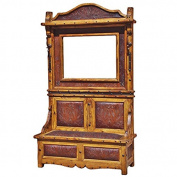 Tooled Leather Hall Tree with Mirror