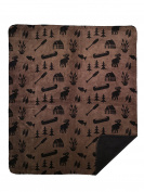 Denali Home Collection by Mont Double-Sided Reversible Throw, 130cm by 150cm , Taupe Camp/Black