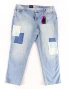 Style & Co. NEW Blue Women's Size 20W Plus Patchwork Boyfriend Jeans