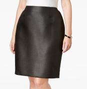 Kasper NEW Black Women's Size 16W Plus A-Line Back-Zip Textured Skirt