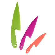 Plastic Kitchen Knife Set 3 Pieces and 3 colours for Kids, Safe Nylon Cooking Knives for Children, for Lettuce or Salads by GarMills