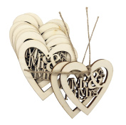 10PACK Shaped Rustic Wooden Love Hearts Mr and Mrs Wooden Embellishments Crafts Hanging Ornament For Wedding Decoration Valentine's Day gift