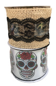 Burlap with Lace with Colourful Sugar Skull Bundle of Two Halloween Themed Ribbons