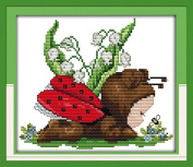 Cross Stitch Embroidery Starter Kit including 14 Count 20cm x 18cm classic reserve Aida coloured threads and tools Baby Ladybug