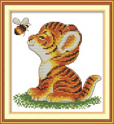 Cross Stitch Embroidery Starter Kit including 14 Count 18cm x 18cm classic reserve Aida coloured threads and tools Little Tiger and Bee