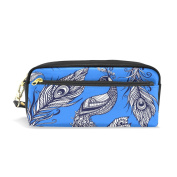 LORVIES Peacock Bird Feathers Pattern Portable PU Leather Pencil Case School Pen Bags stationery Pouch Case Large Capacity Makeup Cosmetic Bag