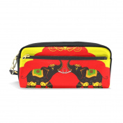 LORVIES Decorated Elephant Showing Indian Culture Portable PU Leather Pencil Case School Pen Bags stationery Pouch Case Large Capacity Makeup Cosmetic Bag