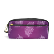 LORVIES Hand Drawn Purple Feathers Pattern Portable PU Leather Pencil Case School Pen Bags stationery Pouch Case Large Capacity Makeup Cosmetic Bag