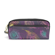 LORVIES Peacock Feather Pattern Background Portable PU Leather Pencil Case School Pen Bags stationery Pouch Case Large Capacity Makeup Cosmetic Bag