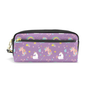 LORVIES Unicorn Rainbow And Fairy Wings Pattern Portable PU Leather Pencil Case School Pen Bags stationery Pouch Case Large Capacity Makeup Cosmetic Bag