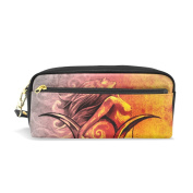 LORVIES Sketch Of A Mermaid Portable PU Leather Pencil Case School Pen Bags stationery Pouch Case Large Capacity Makeup Cosmetic Bag